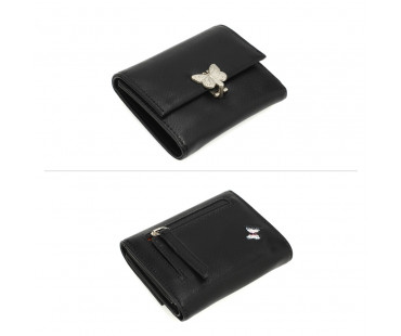 Peněženka Black Flap Metal Butterfly Design Purse / Wallet