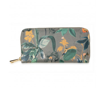 Peněženka Grey Floral Print Zip Around Purse / Wallet