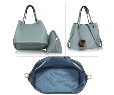 Kabelka Blue Hobo Bag With Faux-Fur Charm
