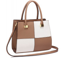 Kabelka Nude /White Fashion Tote Handbag