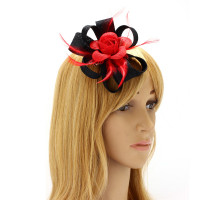Ozdoba do vlasů Black / Red Feather & Flower Hair Fascinator On Clip
