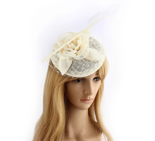 Klobouček Ivory Feather & Flower Mesh Hat Fascinator