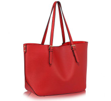 Kabelka L&S Fashion Red Shoulder Bag With Removable Pouch - červená