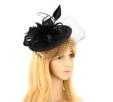 Klobouček Black Mesh Hat Feather Fascinator