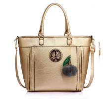 Kabelka Anna Grace Gold Tote Bag With Faux-Fur Charm