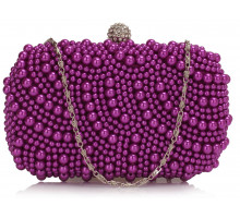 Psaníčko Purple Beaded Pearl Rhinestone Clutch Bag - fialové