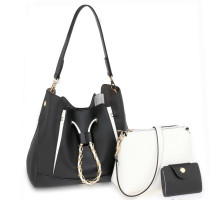 Kabelka 3 kusový set Black / White Women's Fashion Handbags