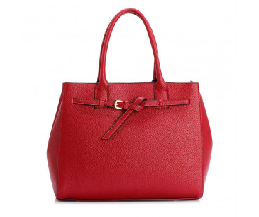 Kabelka Burgundy Tote Handbag Features Buckle Belts