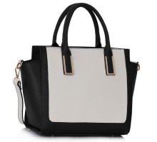 Kabelka Black / White Tote Bag With Long Strap