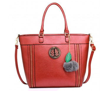 Kabelka Anna Grace Red Tote Bag With Faux-Fur Charm