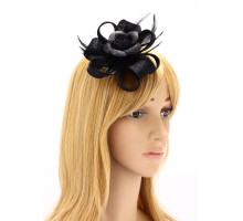 Ozdoba do vlasů Black Feather & Flower Hair Fascinator On Clip