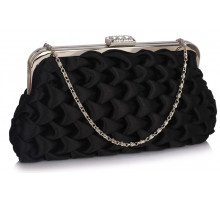 Psaníčko Black Wave Folds Evening Clutch Bag - černé