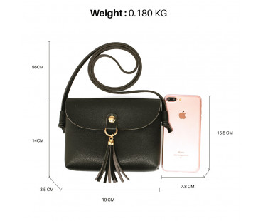 Kabelka Black Flap Cross Body Tassel Shoulder Bag
