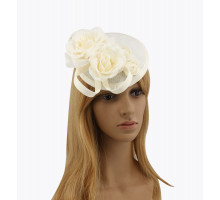 Ozdoba do vlasů Ivory Flower Mesh Feather Hat Fascinator