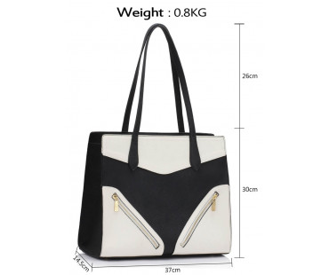 Kabelka L&S Fashion Black / White Buckle Detail Shoulder Bag