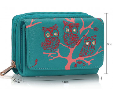 Peněženka Teal Owl Design Purse/Wallet
