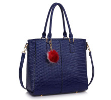 Kabelka L&S Fashion Navy Tote Grab Handbag With  Faux Fur Charm