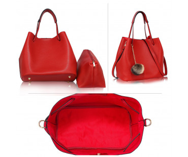 Kabelka Red Hobo Bag With Faux-Fur Charm