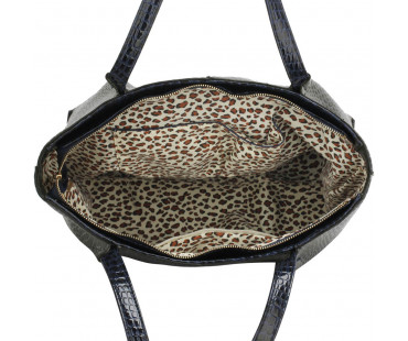 Kabelka Navy Snake Effect Shoulder Bag - modrá