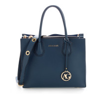 Kabelka Anna Grace Navy Grab Tote Handbag With Gold Metal Work - modrá