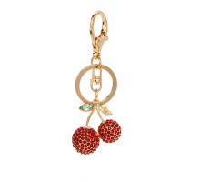 Přívěsek Gold Metal Rhinestone Cherry Bag Charm