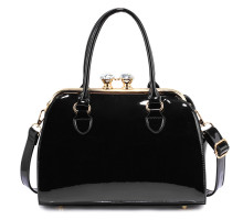 Kabelka Black Patent Satchel With Metal Frame