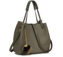 Kabelka Grey Hobo Bag With Faux-Fur Charm