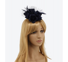Ozdoba do vlasů Navy Flower Mesh Feather Fascinator