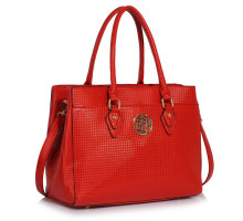 Kabelka Red Metal Detail Grab Tote Handbag