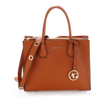 Kabelka Anna Grace Brown Grab Tote Handbag With Gold Metal Work - hnědá