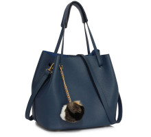 Kabelka Navy Hobo Bag With Faux-Fur Charm
