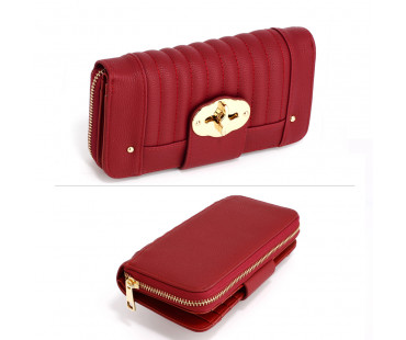 Peněženka Red Zip Round Twist Lock Purse/Wallet