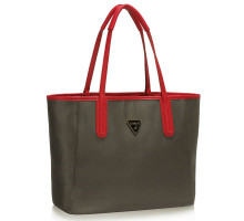 Kabelka Grey / Red Reversible Tote Shoulder Handbag