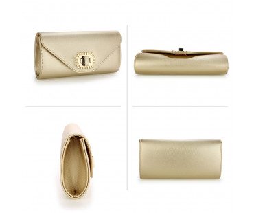 Psaníčko Gold Flap Over Twist-Lock Clutch Purse - zlaté