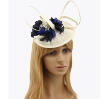 Klobouček Ivory / Navy / Royal Blue Mesh Feather Hat Fascinator