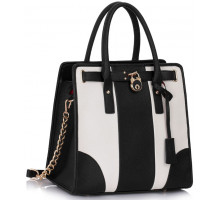 Kabelka Black /White Colour Block Tote Handbag