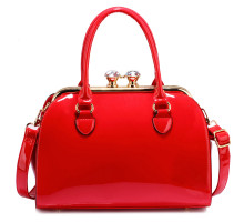 Kabelka Red Patent Satchel With Metal Frame