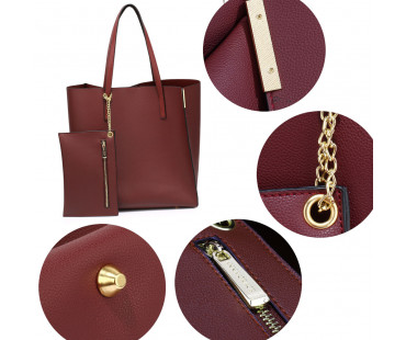 Kabelka Burgundy Tote Bag With Removable Pouch