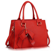 Kabelka L&S Fashion Red Grab Bag With Bow Charm - červená