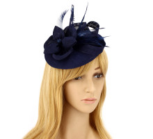 Klobouček Navy Feather & Flower Hair Fascinator