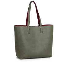 Kabelka Reversible Burgundy/Grey Grab Shoulder Handbag