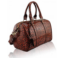 Kabelka Orange Patent Animal Print Bowling Handbag