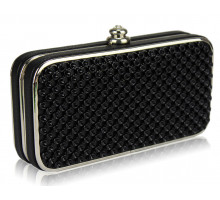 Psaníčko Black Hard Case Evening Clutch