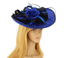 Klobouček Royal Blue / Black Feather & Flower Mesh Hat Fascinator