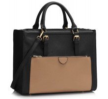 Kabelka Black / Nude Front Pocket Grab Tote Handbag