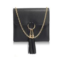 Kabelka Black Flap Clutch Purse With Tassel