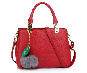 Kabelka Burgundy Tote Shoulder Bag With Faux-Fur Charm
