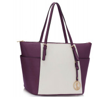 Kabelka Purple / White Women's Large Tote Bag
