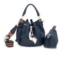 Kabelka Navy Drawstring Bucket Bag With Pouch