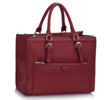 Kabelka Burgundy Front Pocket Grab Tote Handbag
